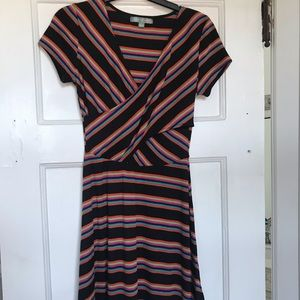 Multicolor stripe wrap chest dress